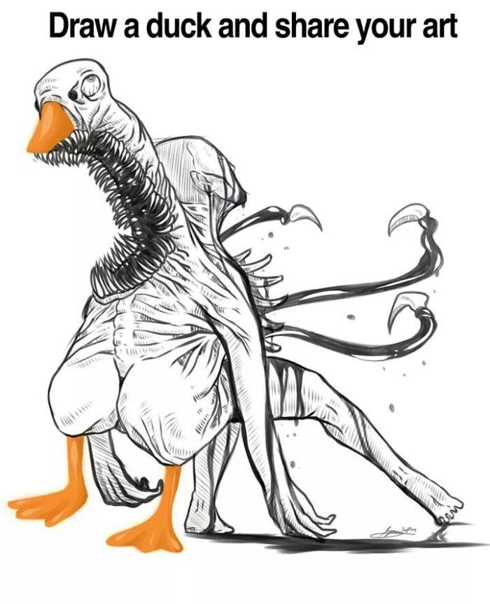 Monster Duck Drawing