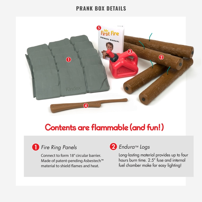 My First Fire Prank Gift Box Inclusions