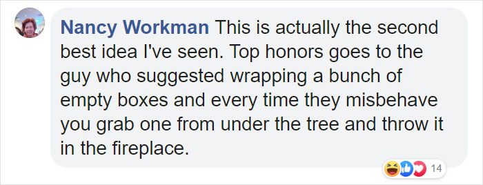 Nancy Workman Facebook Comment on Kristina Watts Christmas Mom Hack