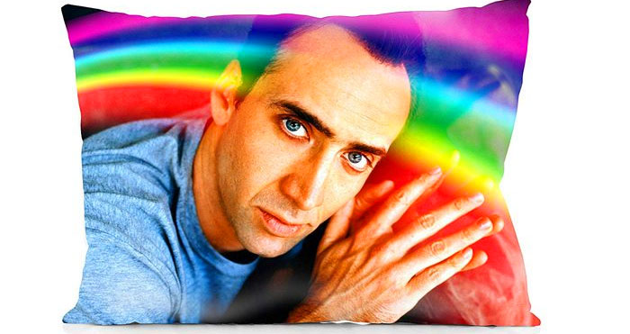 Nicolas Cage rainbow pillowcase