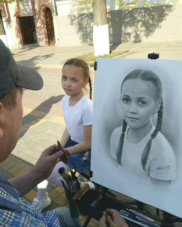 Nikolay Yarakhtin Working on a Portrait of a Girl