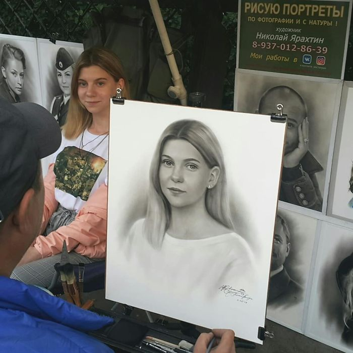 Nikolay Yarakhtin Working on a Portrait of a Young Lady