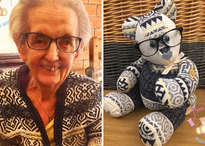 Old Lady's Cardigan Turned into a Memory Bear