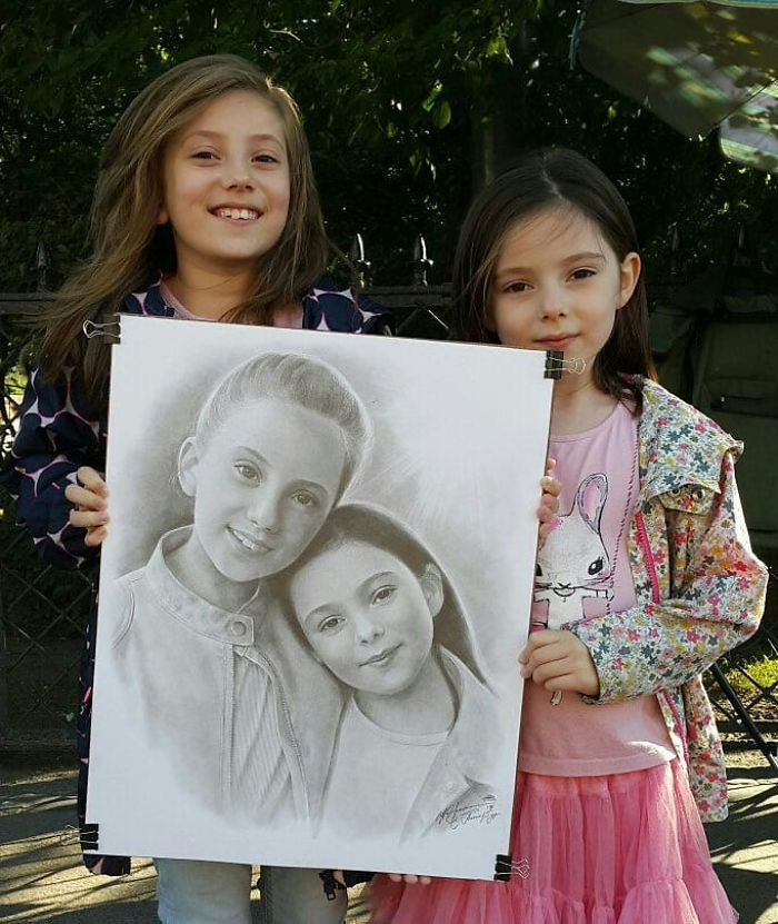 Realistic Portrait of Two Girls by Nikolay Yarakhtin