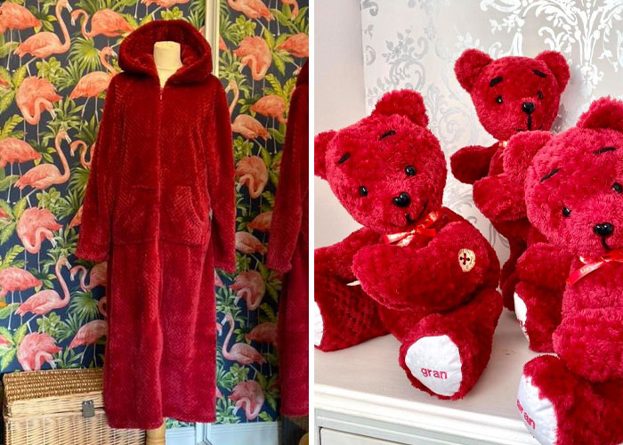 Red Sweater Dress Turned into Three Memory Bears