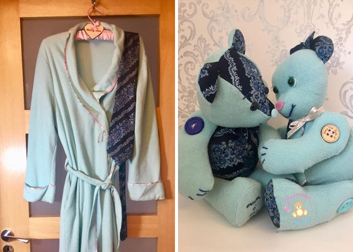Robe and Tie Turned into Two Memory Bears