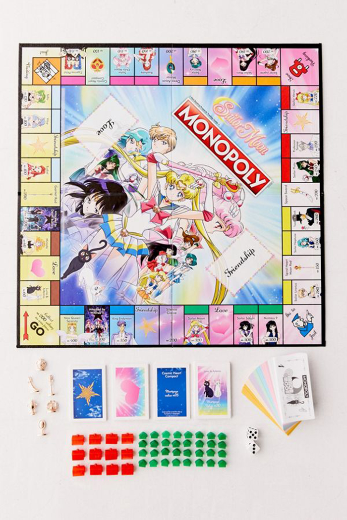 Sailor Moon Monopoly Board complete contents laid out