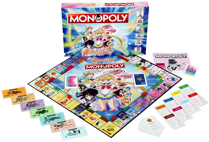 The contents of the sailor moon monopoly board game