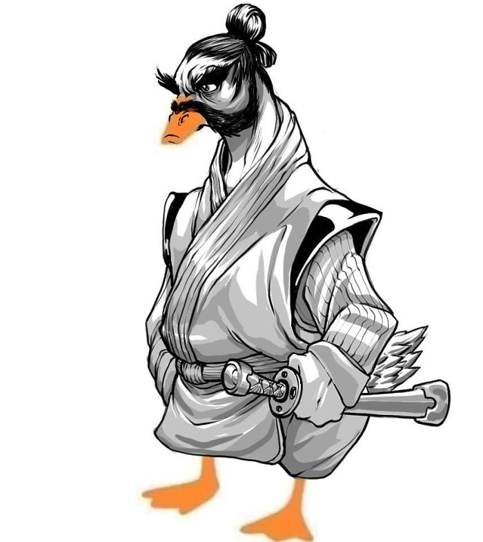 Samurai Duck Drawing Based on Draw a Duck Template