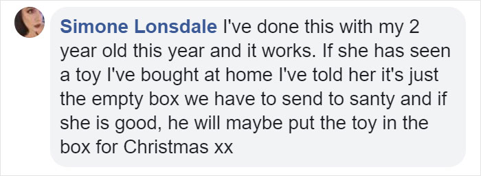 Simone Lonsdale Facebook Comment on Kristina Watts Christmas Mom Hack