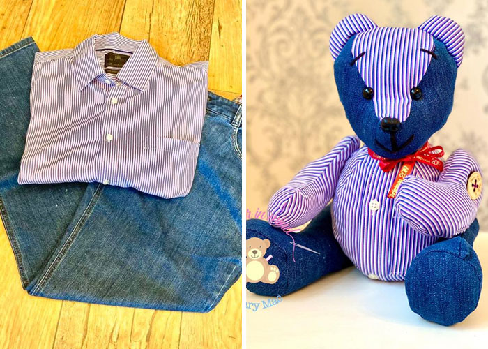 Striped Button-down Shirt and Jeans Turned into a Stuffed Teddy