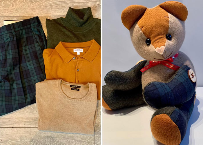Various Shirts and Pants Turned into a Memory Bear