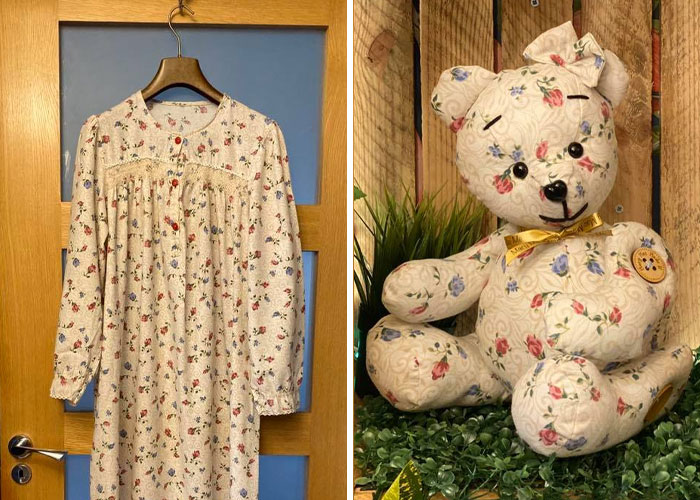 White Floral Dress Turned into a Memory Bear