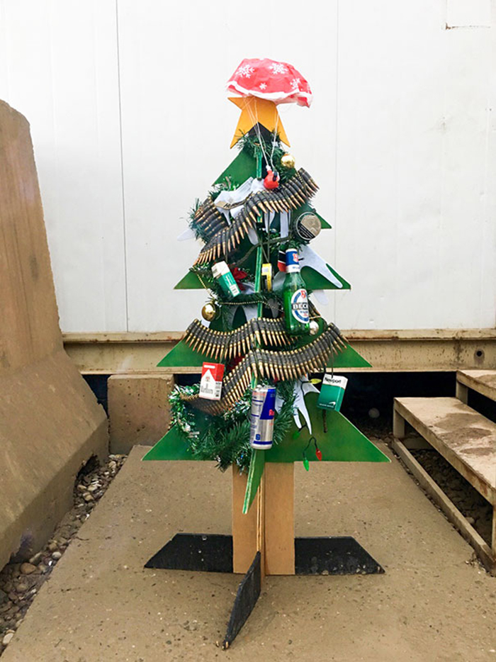 diy holiday trees army style