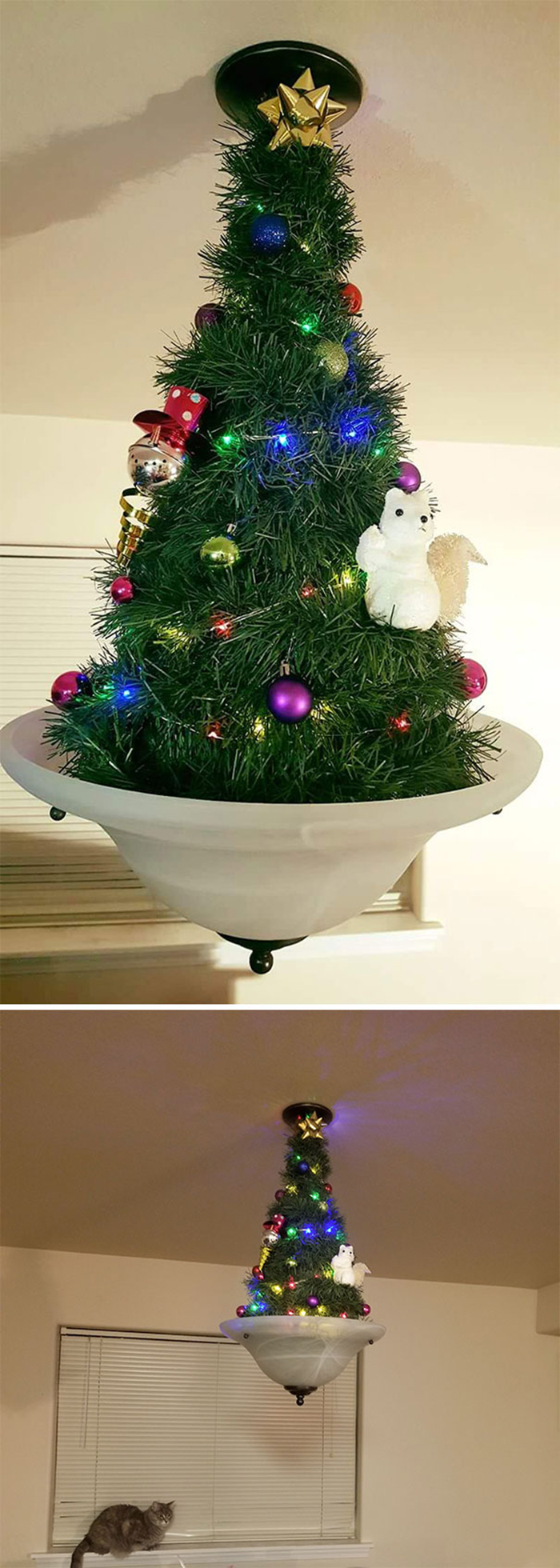diy holiday trees cat-proof