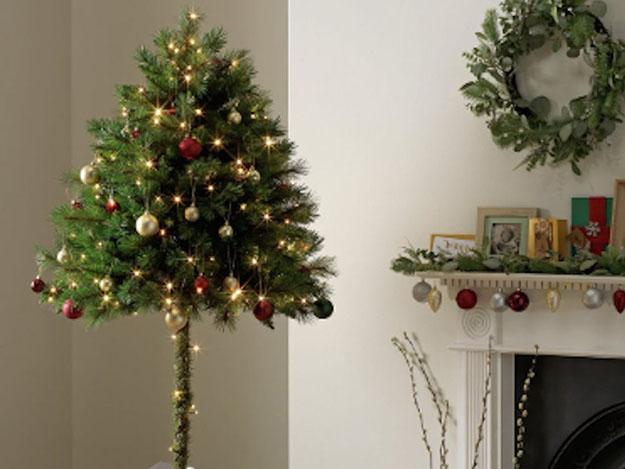 dressed up half christmas tree