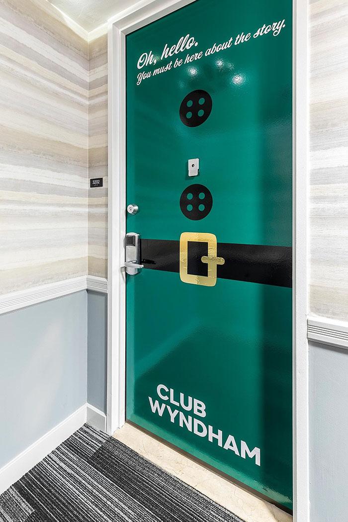 elf-inspired door of the winter wonderland suite