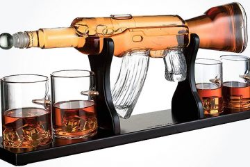 glass AR-15 rifle decanter