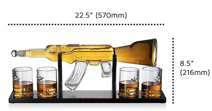 glass ar-15 rifle decanter details
