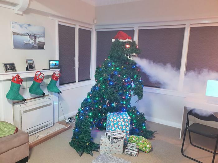 godzilla christmas tree breath smoke