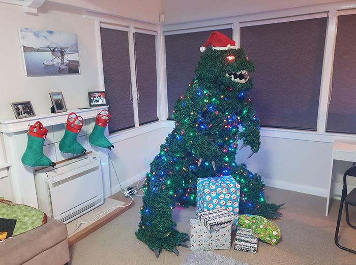 godzilla christmas tree construction lights eyes