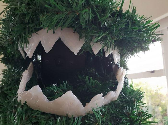 godzilla christmas tree construction plastic teeth