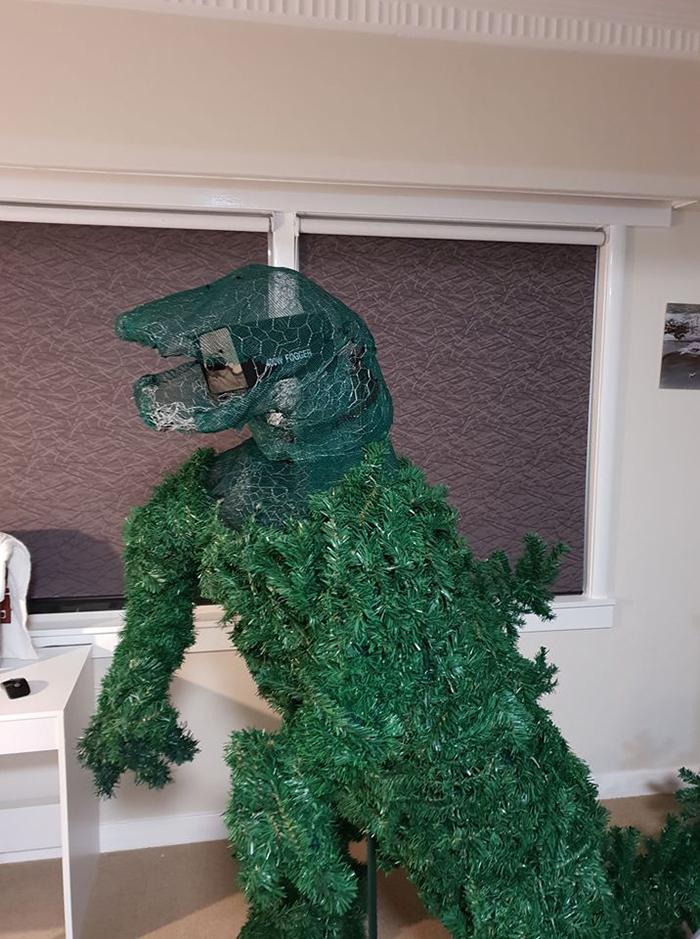 godzilla christmas tree construction