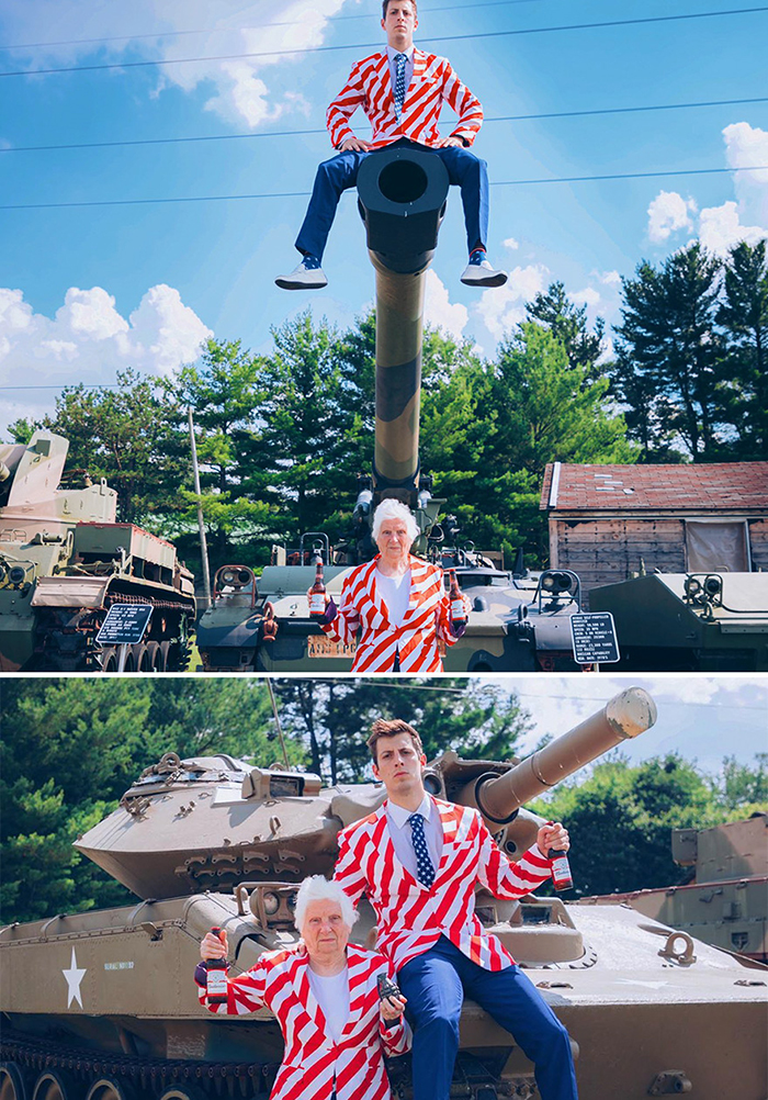 granny grandson comic duo battle tank