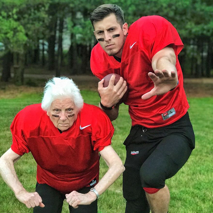 granny grandson comic duo football