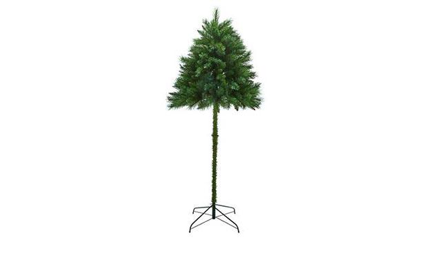 green half christmas treee sans decorations