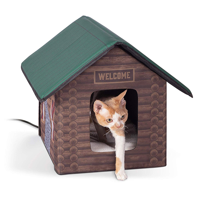 heated outdoor cat house log cabin design