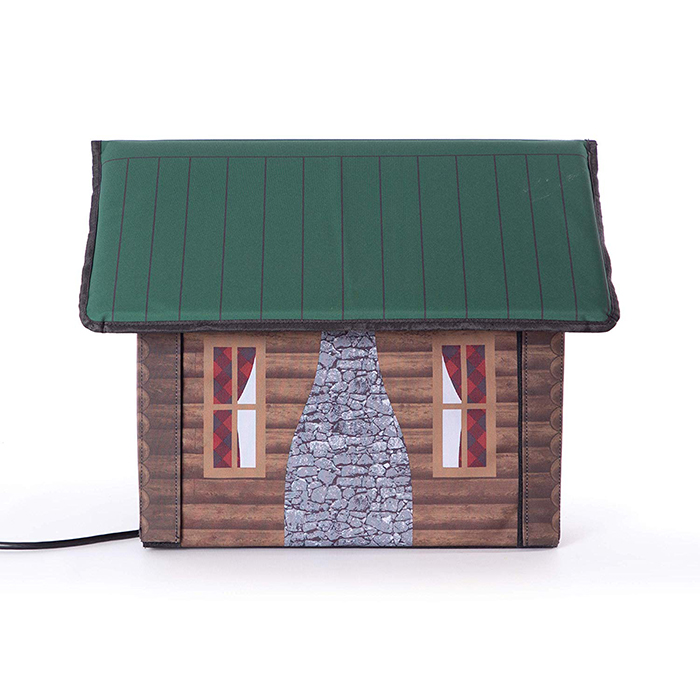 heated outdoor cat house log cabin side