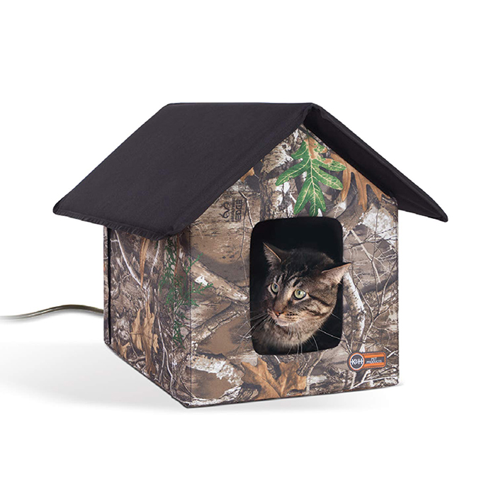 heated outdoor cat house realtree edge camo
