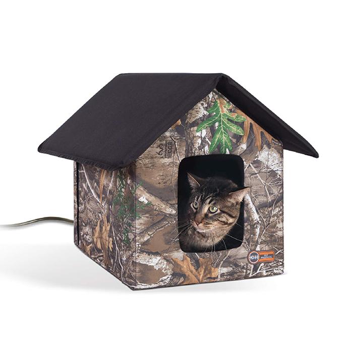 heated outdoor cat house realtree edge camo