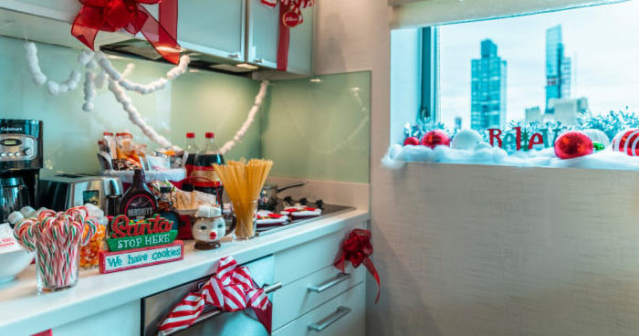 in-suite kitchen loaded with holiday treats