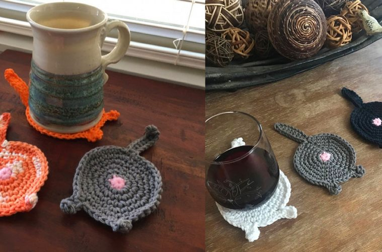 knitted Cat Butt Coasters