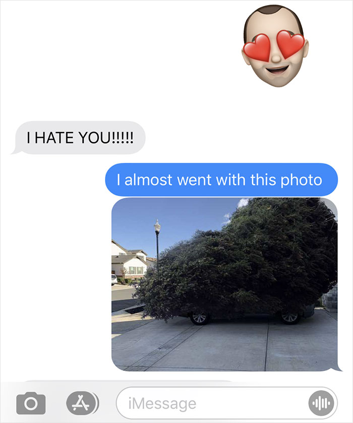 man photoshops christmas tree to freak out wife