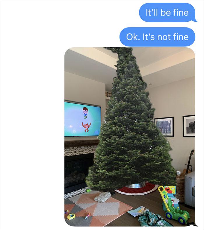 man photoshops christmas tree