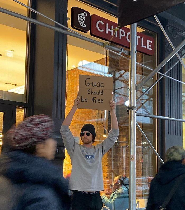 seth funny protester free guacamole