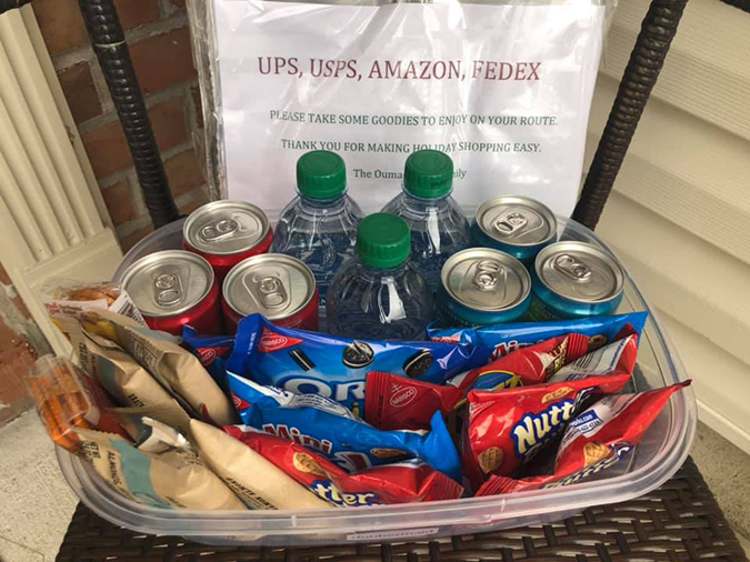 snacks for the delivery guy