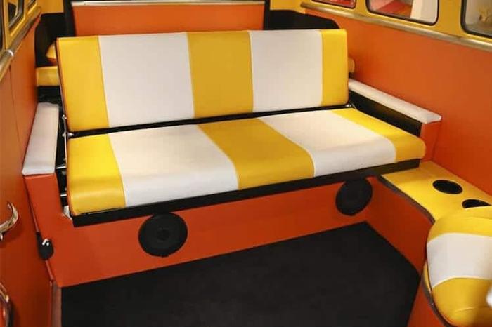 striped yellow backseat