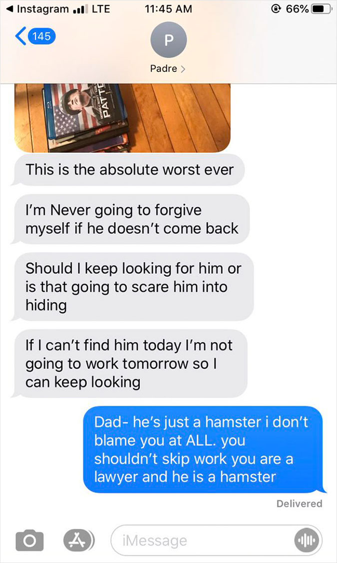 the dad apologizes for letting the hamster escape