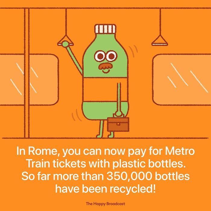 the happy broadcast plastic bottle metro tickets
