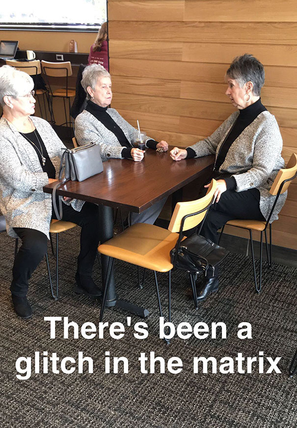 three elderly ladies in matching outfits