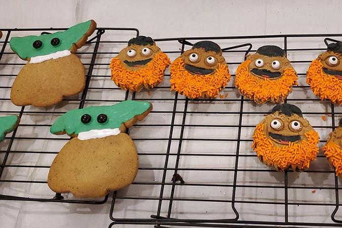 Baby Yoda Cookies next to orange-bearded cookies