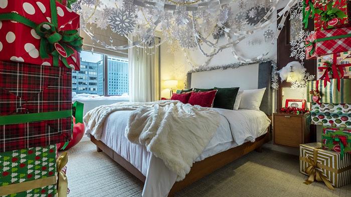 winter wonderland suite giftbox-filled bedroom
