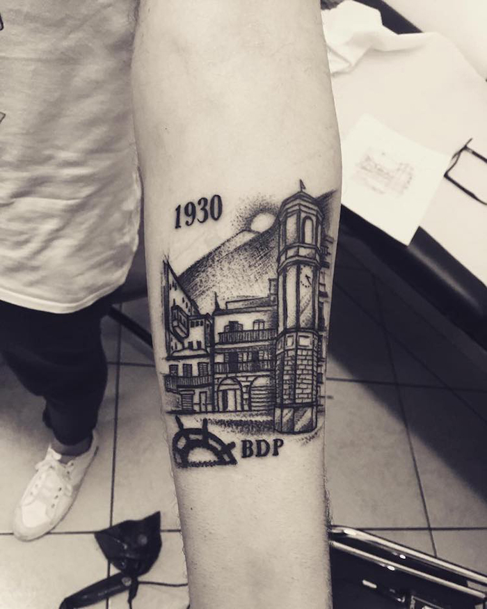 1930 Architecture Tattoo on Arm