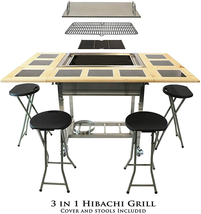 3-in-1 Hibachi Grill with Cover and Stools