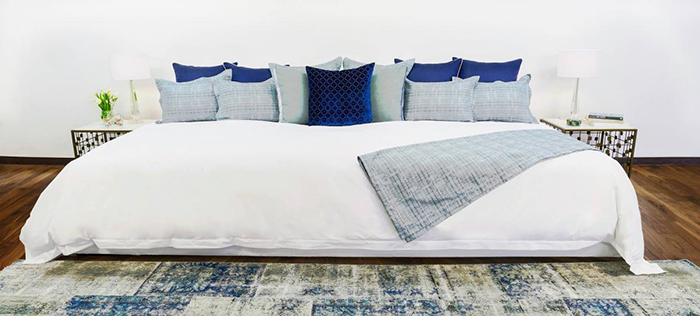Ace Collection 12-foot Bed with White Sheet and Blue Pillows