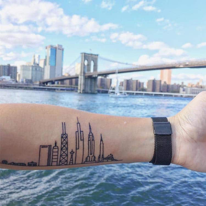 Architecture Outline Tattoo on Left Upper Wrist